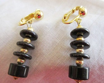 Vintage Gold Tone Celebrity Black Button Dangle Clip On Earrings