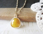MUSTARD hold the ketchup rough cut glass crystal pendant necklace (gold or silver)