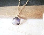 SUGAR PLUM purple haze rough cut glass crystal pendant necklace (gold)
