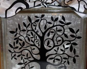 Fancy Tree Vinyl DIY decal for glass block