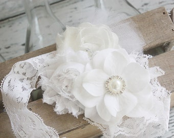 That's All White-  rosette flower and chiffon headband