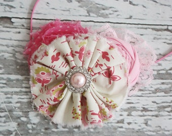 Strawberry Fields-- fabric ruffle & rosette headband