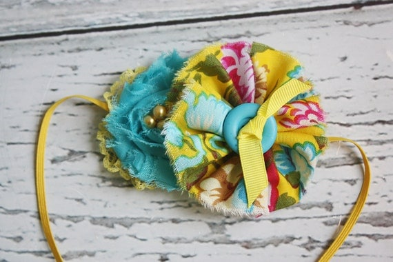 From my Garden- bright yellow and teal chiffon, ruffle and lace headband