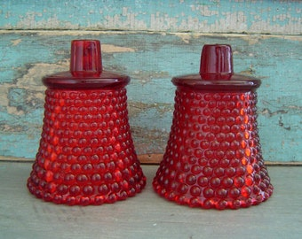 Red Votive Cups Candle Holders Glass Sconce Vintage