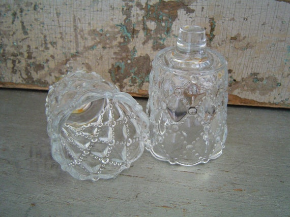 Clear Glass Votive Candle Cups Quilted Pattern Wall Sconce Vintage