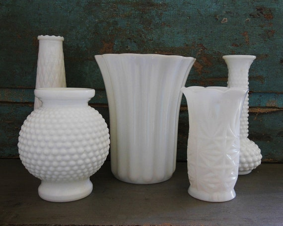 Milk Glass Vases Wedding Centerpieces Collection of 5