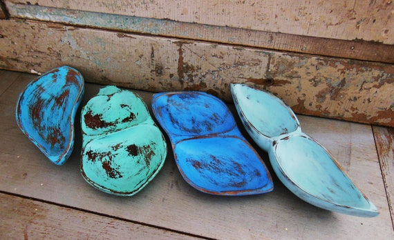 Wooden Teak Tray Beach Glass Turquoise Green Blue Distressed Display Set of 4