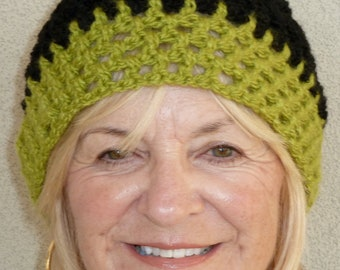 Bohemian Accessories Black Green Crochet Hat