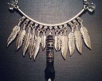 Multi-Feather Mini Bib Necklace