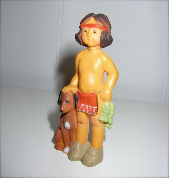 Vintage Native American / Indian Boy With Dog - Hard Plastic Toy Figurine - Miniature