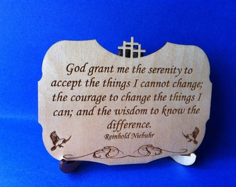 Serenity Prayer Wood Plaque with Stand