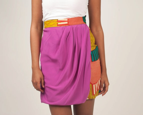 Draped African pleated print Skirt SIZE 4