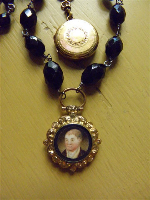 AN ENGLISH GENTLEMAN - Wonderful Victorian Jet Necklace with Antique Hand Painted Fob and Hand Locket