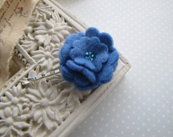 Azure . bobby pin . felt flower . girls hair accessory . blue