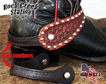 Black Spur Leathers with background tooling, wear your spur straps w/o spurs