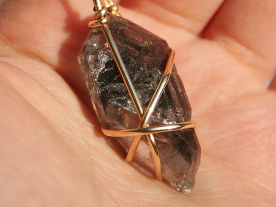 Tibetan Double Terminated Black Quartz with Gold Filled Wire Wrapped Crystal Pendant