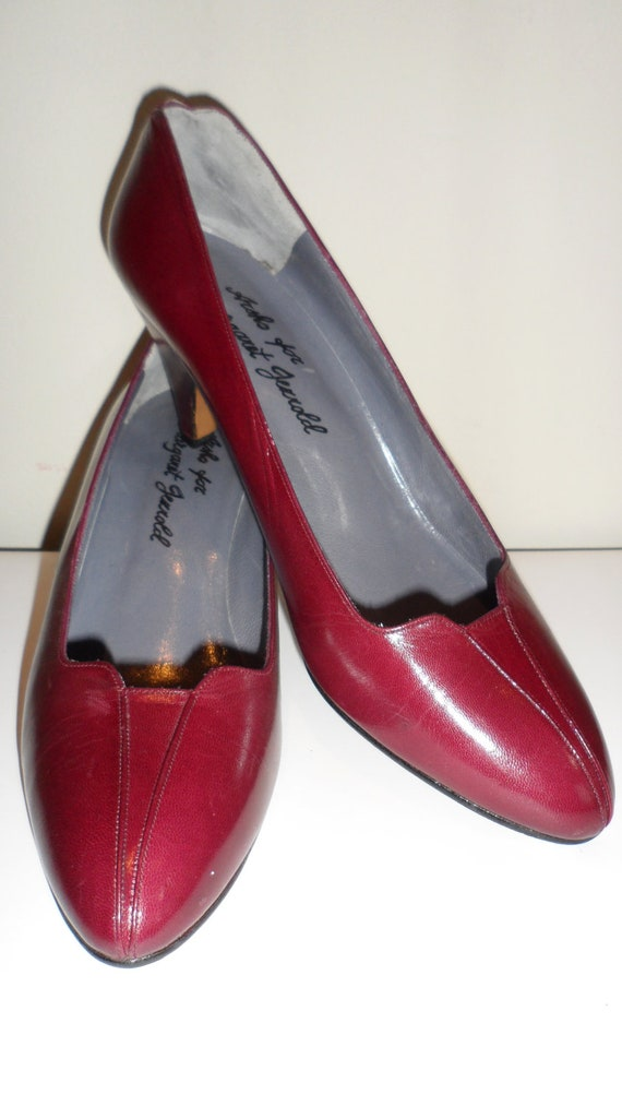 arsho for margaret jerrold oxblood shoes  pumps vintage 1960s size 7 b leather made in spain