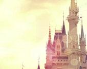 Cinderella Castle, Art Photograph, Dreamy, Nursery, Disney, Princess, , magical, pink, print, photo, art, yellow, Once upon a time, fine