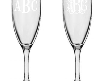 2 Personalized Champagne Glasses Custom Engraved Roman or Vine Monogram