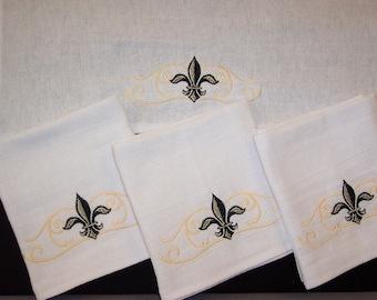 Tea Towels with Elegant Fleur De Lis Scroll Embroidery