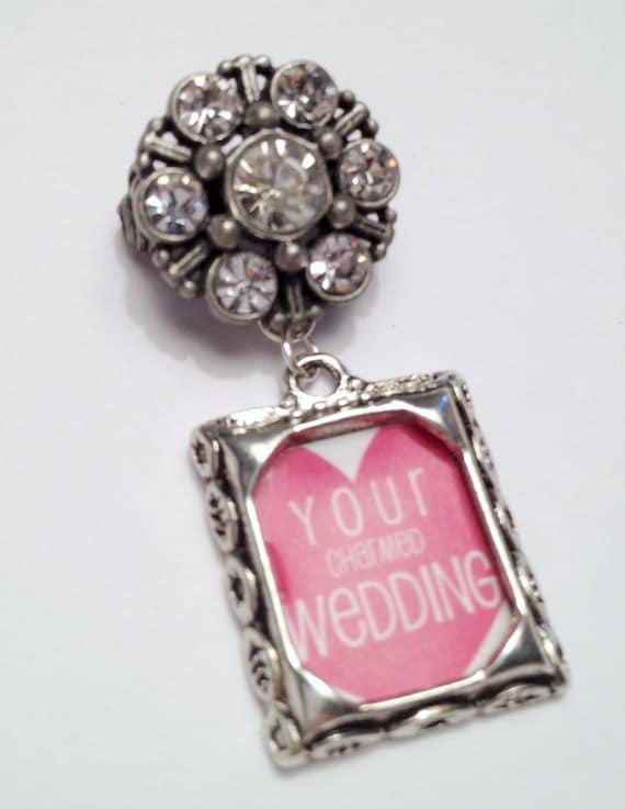 Vintage Inspired Rectangular Wedding Bouquet Pin (Dressed Up)