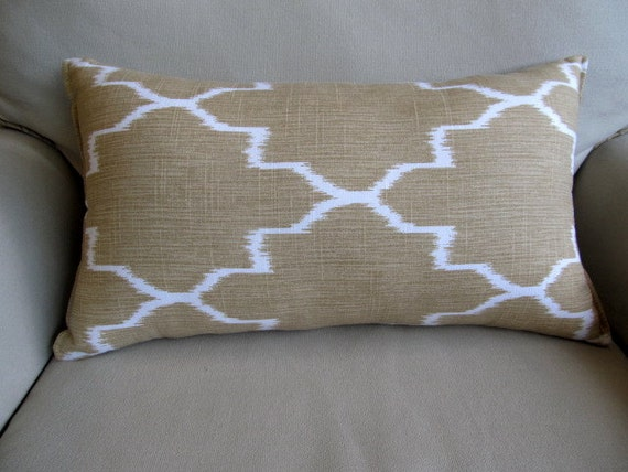 Rectangulal Bolster Pillow in straw and white 12x22