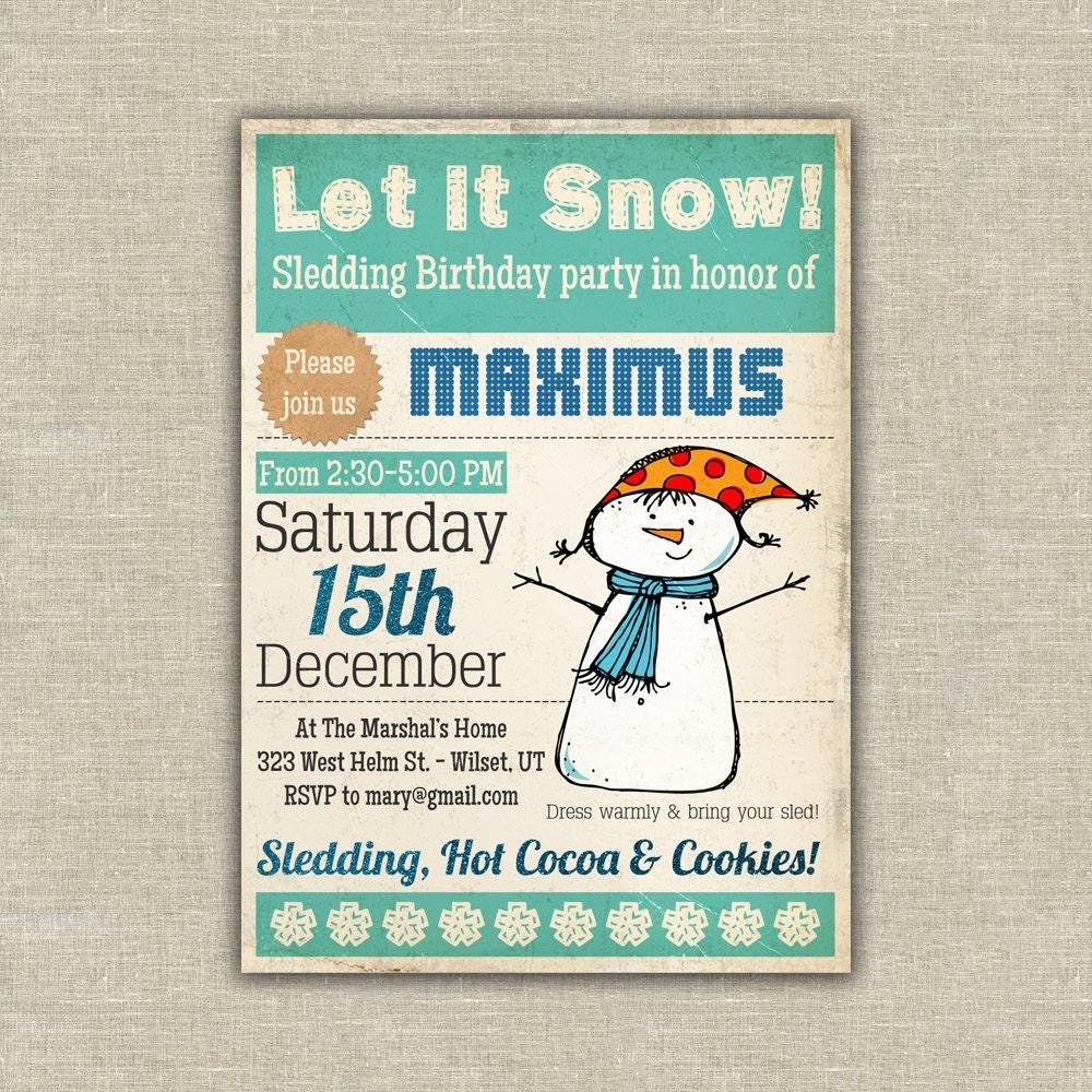 Sledding Party Invitations Choice Image - Party Invitations Ideas