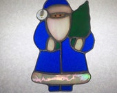 Stained Glass Blue Santa Sun Catcher Ornament