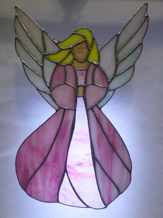 Stained Glass Pink Angel Panel