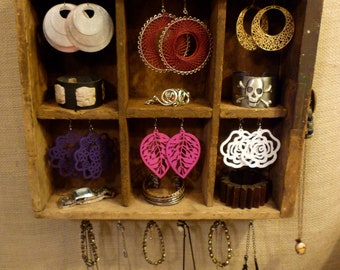 Upcycled Jewelry Holder Organizing Display Cabinet (Wood 6 Section Drawer)