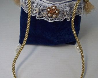5 x 6 Mini Neck Pouch Royal Blue Velvet Small Party Makeup Dressup Petite Prom Necklace Bag Cosmetic Dance Essential Amulet Size Holder Gift