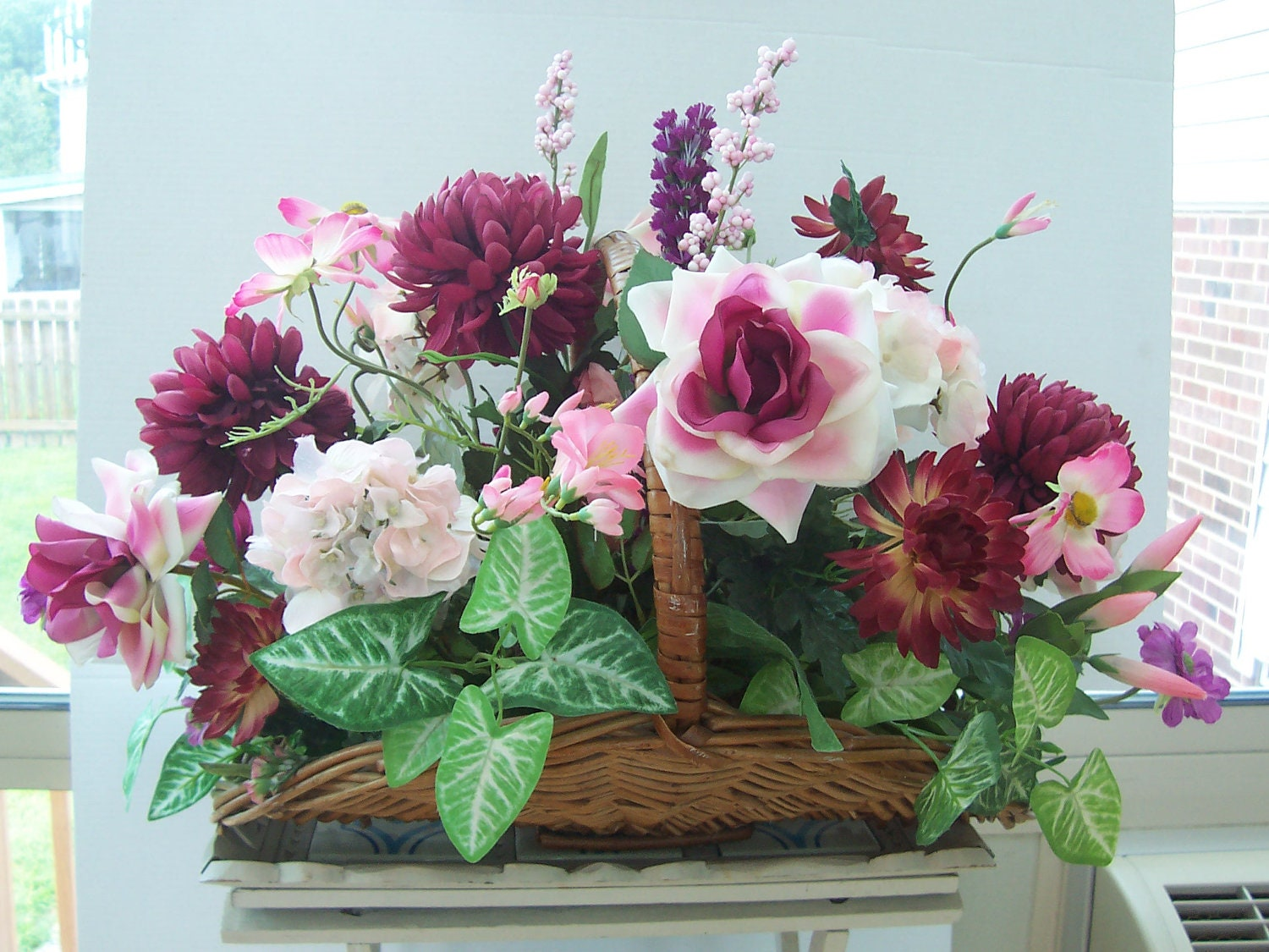 Extra large victorian silk flower arrangement centerpiece