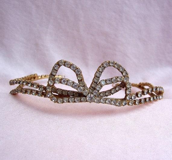 Vintage tiara rhinestone bridal Audrey Hepburn designer hair accessory with provenance