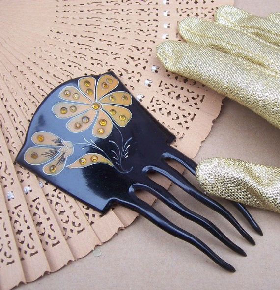 Vintage hair comb Victorian Spanish style blue rhinestone hair accessory