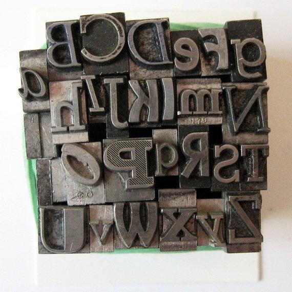 RESERVED Wild Mix Metal Letterpress A Thru Z Alphabet Letter Type. Antique