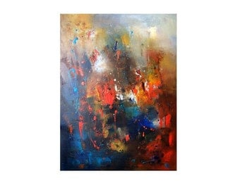 Abstract in blue red ochre hues oil canvas by Katya Trischuk Toronto artist original art on Etsy by Canadian Ukrainian contemporary painter
