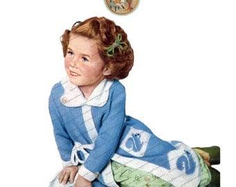 Vintage Knitting Pattern Bathrobe Squirrel Design for Children 1940s Dressing Gown PDF Instant Download - PrettyPatternsPlease