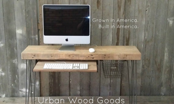 """Modern Industrial small desk  48"""" x 11.5"""" w x 30"""" tall with keyboard tray with free shipping - No Locker Basket"""