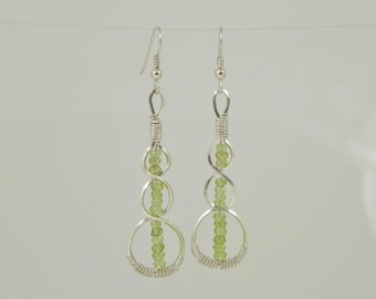 Micro Faceted Peridot DNA Argentium Sterling Silver Wire Wrap Earrings