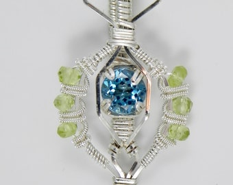 Swiss Blue Topaz and Peridot Sterling Argentium Silver Wire Wrap Pendant