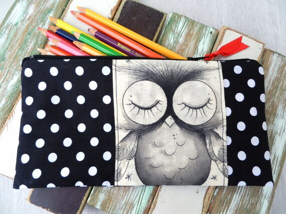 Pencil case - Owl - Black Polkadot