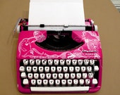 Hot Pink Hand Illustrated Typewriter