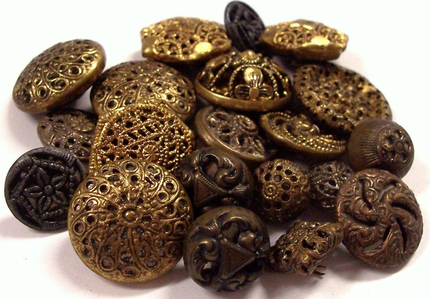 Vintage Metal Buttons Antique Victorian Metal Buttons Brass