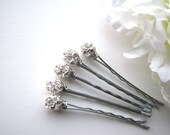 Crystal Silver Rhinestone Hair Pins, 8mm Wedding Hairpins