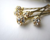 Rhinestone and Gold Hair Pins Set, Czech Crystal 8mm