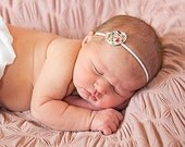 Baby Headband, Vintage Inspired Fuchsia, Off White and Green Multicolor Flower Newborn Headband, Great for Photo Prop