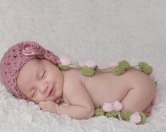 Baby Girl Hat, Newborn Baby Girl Crochet Hat in Dusty Pink and Sage Green PomPom with Flower, Great for Photo Prop
