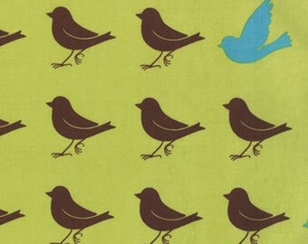 Chartruese and Brown Bird Print from the Oh Deer Collection, by Moda, 1 yard