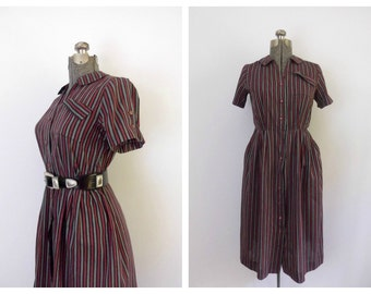 Vintage 1940s Striped Day Dress Mid Century Fashion Mayflower Brand