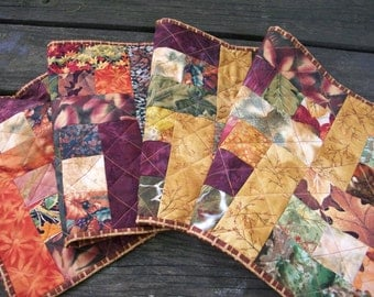 Fall Leaves Table Runner Autumn Handmade Quilted Quiltsy Handmade FREE U.S. Shipping